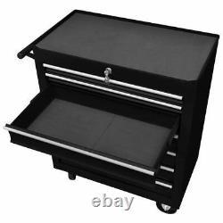 VidaXL Workshop Tool Trolley with 7 Drawers Black Garage Tool Storage Cabinet