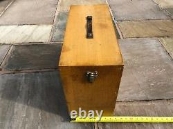 Vintage 6 Drawer Engineers Toolmakers Wooden Tool Chest Box Cabinet With Tools