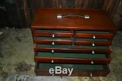 Vintage 7 Drawer Engineers Toolmakers Wooden Tool Cabinet by Union