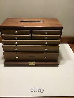 Vintage 7 Drawer Engineers Wooden Tool Chest Top Box Cabinet by Union