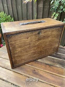 Vintage Antique Engineers Oak Tool Collectors Watch Makers Cabinet Box 7 Drawers