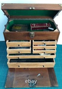 Vintage EMIR 7 Drawer Engineers Toolmakers Cabinet Chest Box + M&W Eclipse Tools