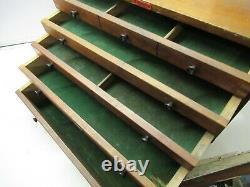 Vintage ENOX Wooden Engineers Cabinet with 5 Drawers