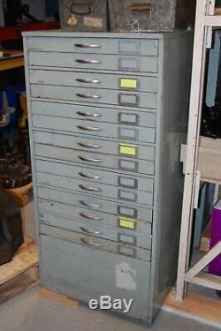 Vintage Industrial Metal 14 Drawer Tool Chest / Storage Filing Cabinet #1