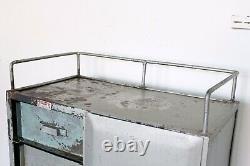 Vintage Industrial Metal Workshop Tool Cabinet Cupboard Chest Drawer