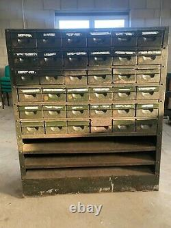Vintage Industrial Steel Tools/Parts/Storage Cabinet 36 Drawers 3 Shelves