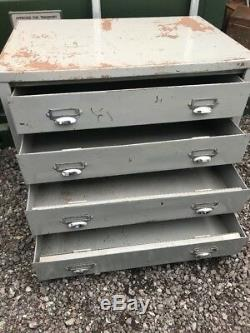Vintage Large Industrial Metal Drawers 4 Tool Storage, Cabinet Salvage