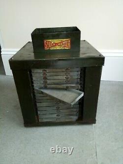 Vintage Metal 85 drawer stock master revolving Tool Cabinet 1920s rare