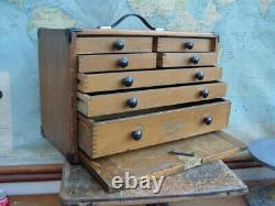 Vintage Moore & Wright 7 Drawer Wooden Engineers Tool Box Chest