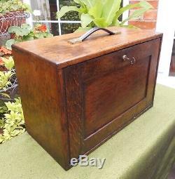 Vintage Oak Engineer's Tool Chestcollector's Cabinetfive Drawers+slide