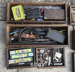 Vintage Oak Neslein 8 Drawer Locking Engineers Machinist Tool Cabinet Chest