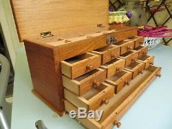 Vintage Oak Watchmakers Cabinet Collectors Drawers Tool Chest Jewelry Box Sewing