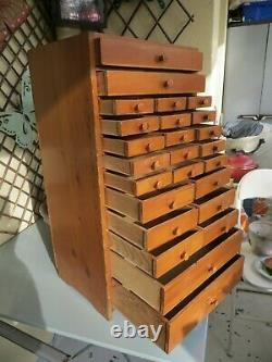 Vintage Pine Watchmakers Cabinet, Collectors Drawers, Vintage Tool Box / Chest