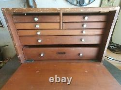 Vintage UNION 7 Drawer Engineers Toolmaker Wooden Tool Cabinet Chest Tool Box