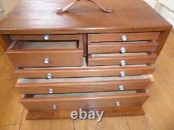 Vintage UNION 8 Drawer Engineers Toolmaker Wooden Tool Cabinet Chest Toolbox