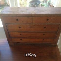 Vintage Wooden Engineers Tool Chest Cabinet Toolbox 5 Drawers+ 1 small bottom dr