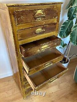 Vintage Wooden Industrial Workshop Tool Tallboy Storage Drawer Unit Cabinet