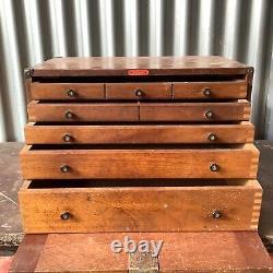 Vintage wooden engineer toolmakers cabinet drawers. Enox. Engineering toolbox