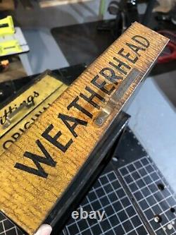 Vtg Weatherhead 4 drawer metal cabinet Advertising Mancave Garage Industrial