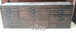 Vtg antique Post Office chest cabinet 16 drawers or engineer/Carpenters tool box