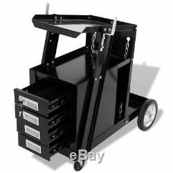 Welding Cart Trolley with 4 Drawer Black Workshop Tool Storage Organiser Cabinet