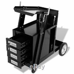 Welding Welder Cart Trolley 4 Drawer Tool Storage Cabinet Organiser Garage Black