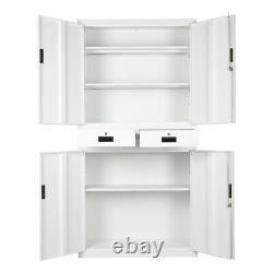 White/Grey Metal 6FT Tool Storage Cupboard Filing Cabinet 2 Drawer Locker Office