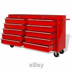 Workshop Tool Trolley 10-Drawer Storage Cart Workstaion Wheel XXL Steel Lockable