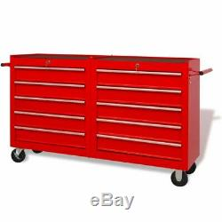Workshop Tool Trolley Garage Storage Chest Cabinet Wheel Toolbox with Drawers