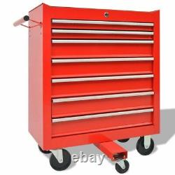 Workshop Trolley Mobile Storage Chest Box Cabinet with 1125 Tools Steel 7 drawer