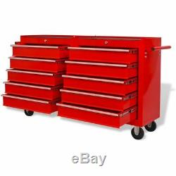 Workshop Trolley Tool Box Garage Utility Service Tool Cart Cabinet with 10 Drawer