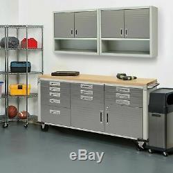 11 Tiroir Outil 6' Workbench Cabinet De Roulement Banc De Travail En Acier Inoxydable Bois Haut