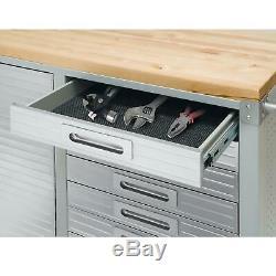 12 Tiroir Outil 6' Workbench Cabinet De Roulement Banc De Travail En Acier Inoxydable Bois Haut