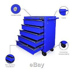 130 Us Pro Blue Tools Coffre À Outils Coffre À Roulettes Meuble 5 Tiroirs Mécanique