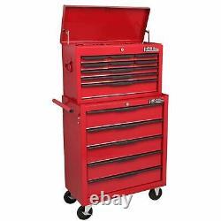 14 Tiroir En Acier Rolling Tool Armoire Red Top Chest Box Garage Rangement