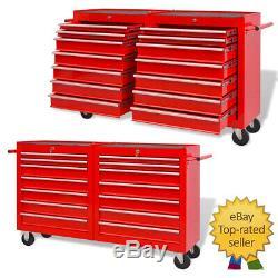 14 Tiroirs Atelier D'outils Chariot Panier Coffre En Acier Boîte De Rangement Mécanique Du Cabinet