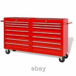 14 Tiroirs Roller Tool Cabinet Coffre Coffre Organisateur Garage Workshop Rouge