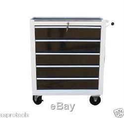 193 Nous Pro Tools Blanc Avec Le Coffre En Acier Noir Boîte À Outils Rouleau Cabinet Tiroirs 5