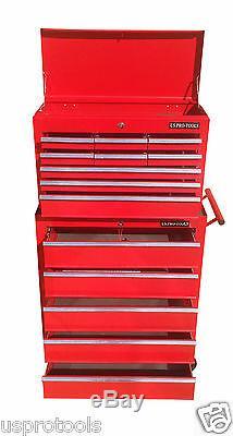 254 Us Pro Tools Red 14 Armoire À Roulettes Pour Coffre À Outils, Tiroirs À Roulement À Billes