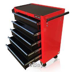 376 Us Pro Red Black Tools Coffre À Outils Abordable Caisson À Roulettes 5 Tiroirs