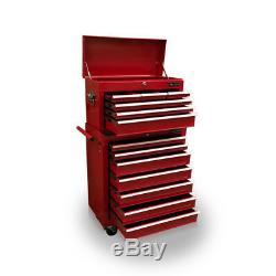 423 Boîte À Outils Rouleau Cabinet Chest Acier 13 Tiroirs Gloss Rouge Nous Pro Tools