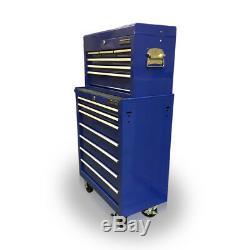 424 Coffres À Outils En Acier Avec Coffre À Roulettes, Mécanique, 13 Tiroirs Bleu Us Pro Tools