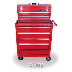 452 Us Pro Tools Mechanics - Armoire À Roulettes En Acier, Coffre À 8 Tiroirs, Rouge