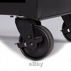 4 Tiroirs Boîte À Outils Coffre Chariot Avec Roues En Métal Rouler Autour De Roulement De Stockage Noir