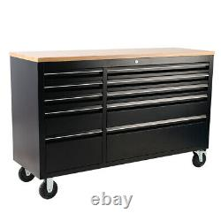 55 Heavy Duty Steel Wood Top Chest Tool Box Armoire Garage Work Shop 10 Tiroir