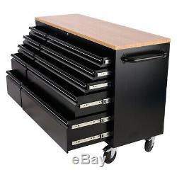 55inch 10drawer Déplacement D'outils Coffre De Rangement Verrouillables Armoire À Outils Garage Workbench