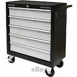 5 Black Metal Outil Verrouillables Tiroirs Boîte De Rangement Rouleau Cabinet / Rollcab Cabine