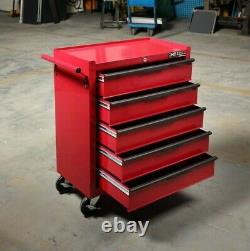 5 Tiroir Red Gloss Tool Trolley Chest Box Heavy Duty Hilka Storage Cabinet