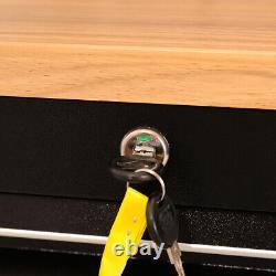 72 15 Armoire Mobile De Boîte De Coffre De Stockage De Tiroir Avec L'établi De Chariot D'outil De Dessus En Bois