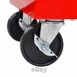 7 Tiroirs Mécanique Outil Chariot Rouge Atelier Coffre-fort Armoire De Rangement Boîte À Outils